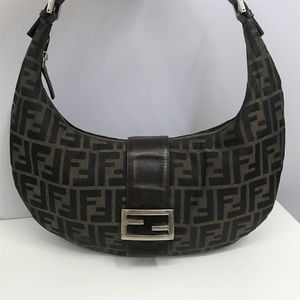 FENDI Brown Logo Hobo Bag Silver FF Logo